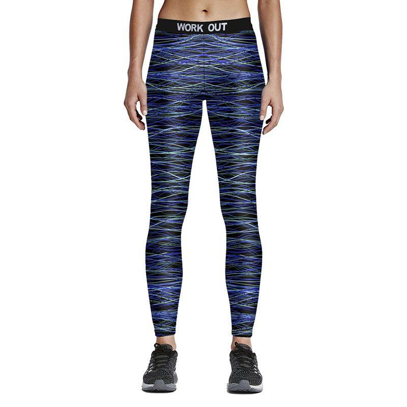 e375535e649 Fashion Stripe Print Leggings Women Fitness Sporting Pants Elastic ...