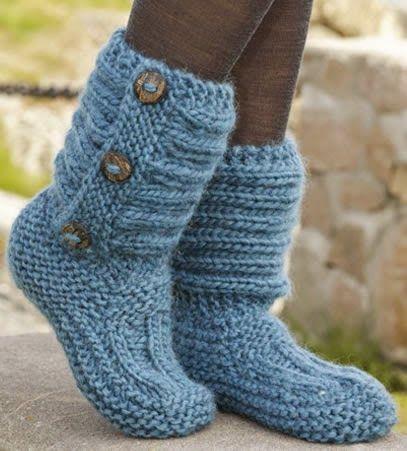 Zapatilla o Calcetín Tejido a Palillo Paso a Paso | Patrones Crochet ...