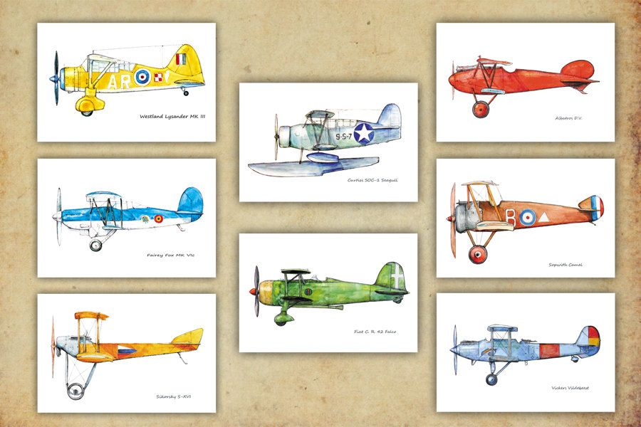 Airplane Decor Boy S Nursery Vintage Prints Warercolor Set 8 Retro Prop Aircraft Poster Aviation Wall Art Gift For Pilots By Mirabilitas On