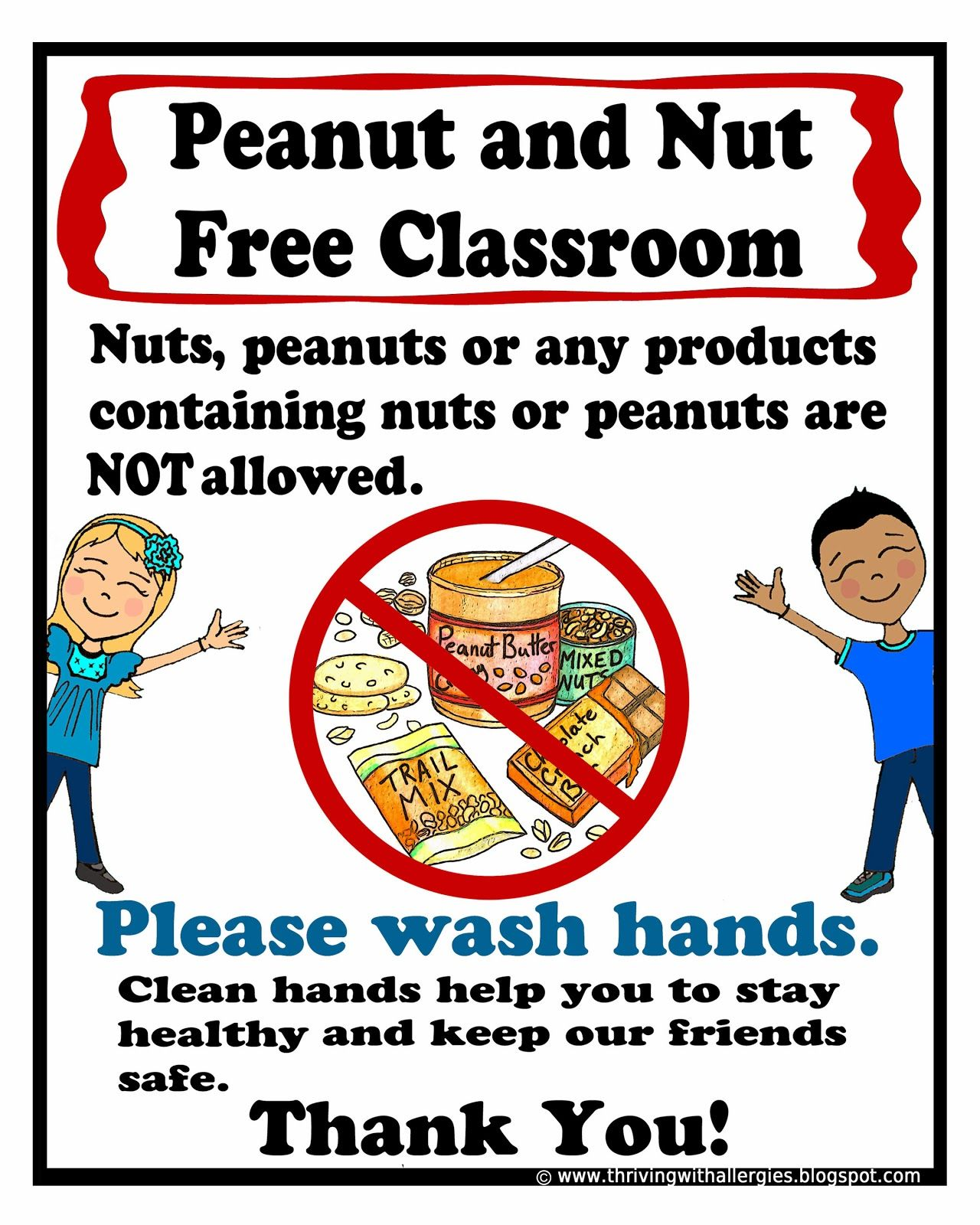 Peanut And Nut Free Classroom Poster Free Printable