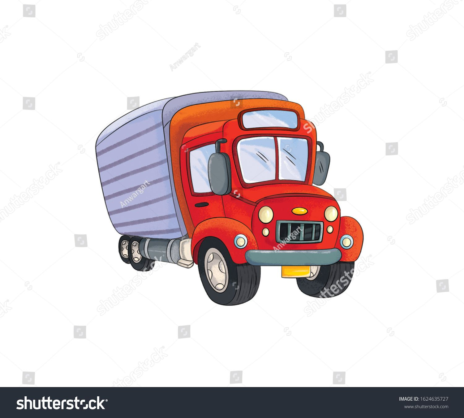 Illustration Red Colour Vehicles Lorry Stock Illustration