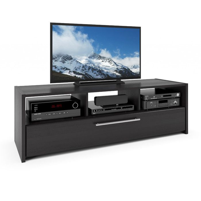 Latitude Run Isla Black Tv Stand With Open Storage Amp Reviews Wayfair Black Tv Stand Corliving Tv Stand