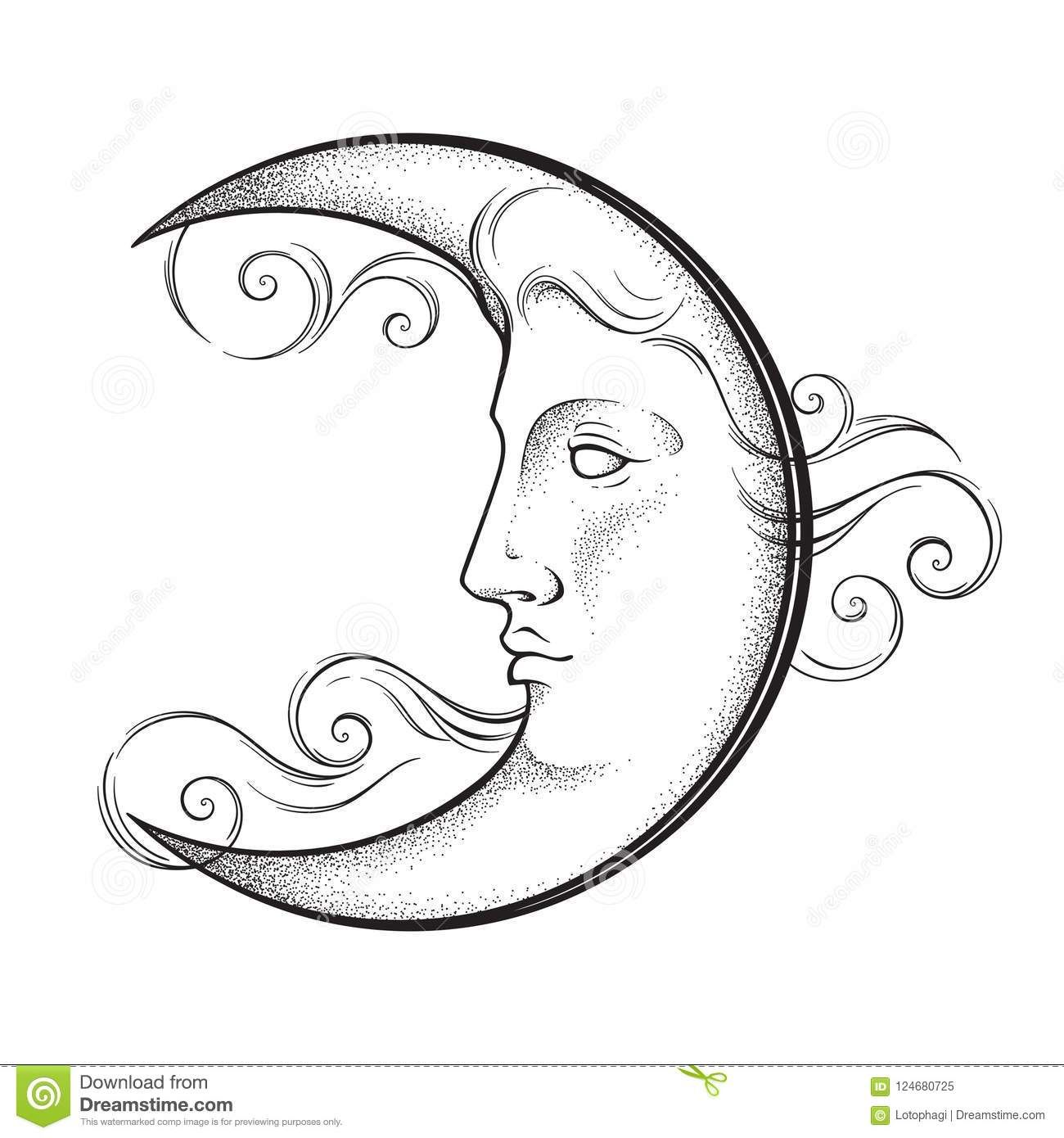 Crescent Moon With Face In Antique Style Hand Drawn Line Art And Moon Tattoo Crescent Moon Art Moon Tattoo Designs