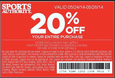 sports authority printable coupons may 2014 20 off your entire purchase or 25 off a single item