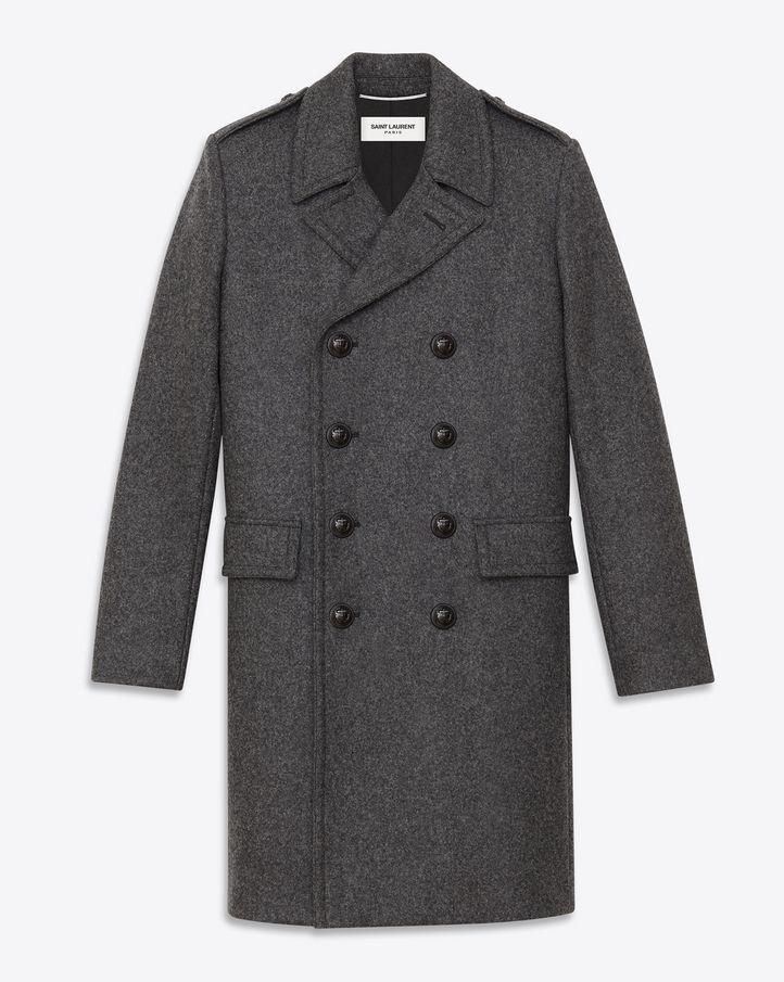 04e8823022e saintlaurent, Classic Caban Coat in Dark Anthracite Wool | gayest ...