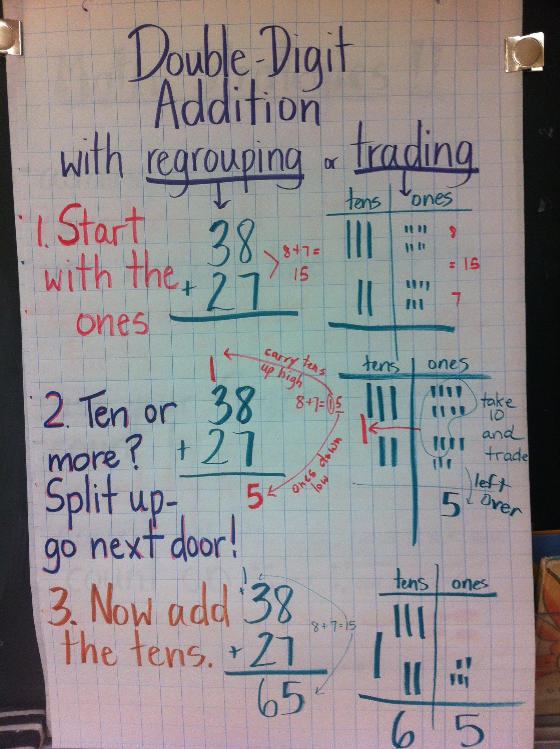 Double digit addition with carrying or regrouping or trading ...