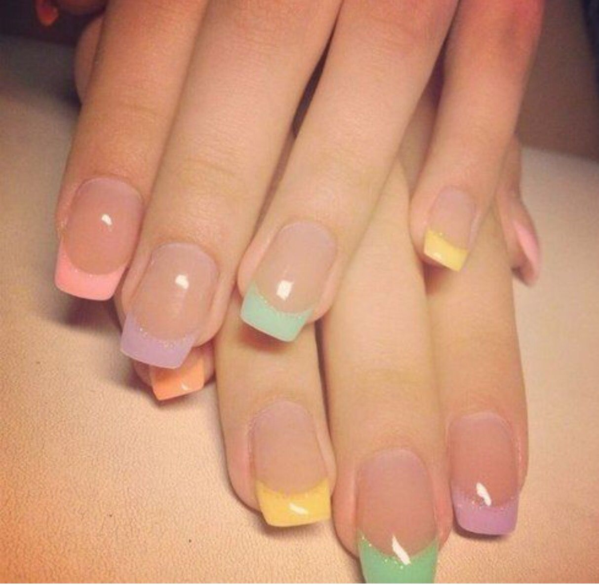 Beautiful Soft Colors Gel Nail Art Designs Colored French Nails Nail Designs
