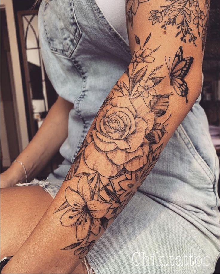 Sleeve Tattoos 3 4 Girl Tattoos Floral Tattoo Sleeve Sleeve Tattoos For Women Arm Tattoos For Women