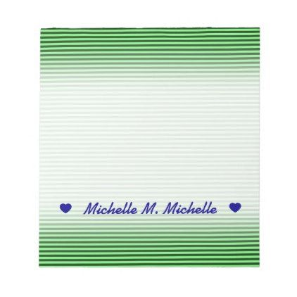 Dark Green \ Light Green Stripes Lines Pattern Notepad - light - notepad template word