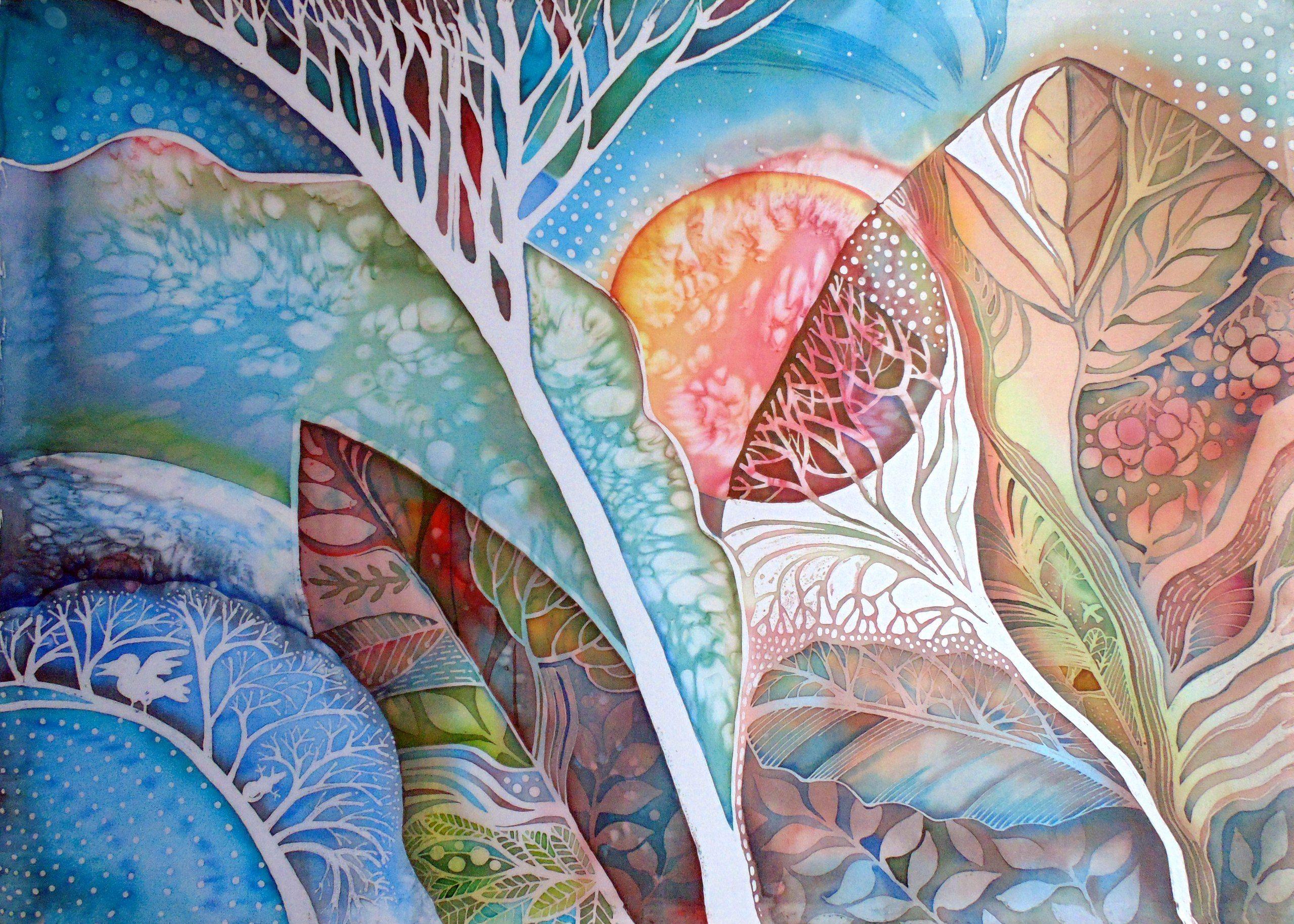 Батик роспись по ткани картинки пейзаж