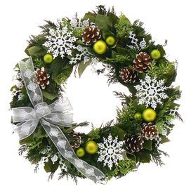 """Preserved leaves and green cedar wreath with frosted pinecones, ornaments, snowflakes and a sheer white ribbon in a natural twig base.  Product: WreathConstruction Material: Silicone and natural twigColor: GreenDimensions: 18"""" DiameterCleaning and Care: Wipe gently with a dry cloth. Avoid sunlight and humidity."""
