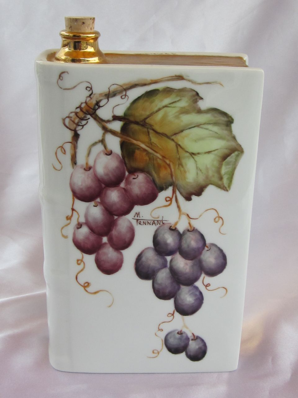 Signed Hand Painted Grapes Limoges Decanter.