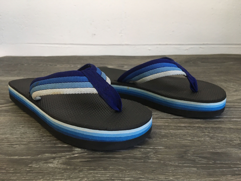 c68ab5f19a1b18 80 s FLIP FLOPS Thick Foam Sandals Thongs  Rare Vintage Blue Rainbow  Striped Nylon Strap  Good Condition Women 7.5-8 Men 5.5-6 by sweetVTGtshirt  on Etsy