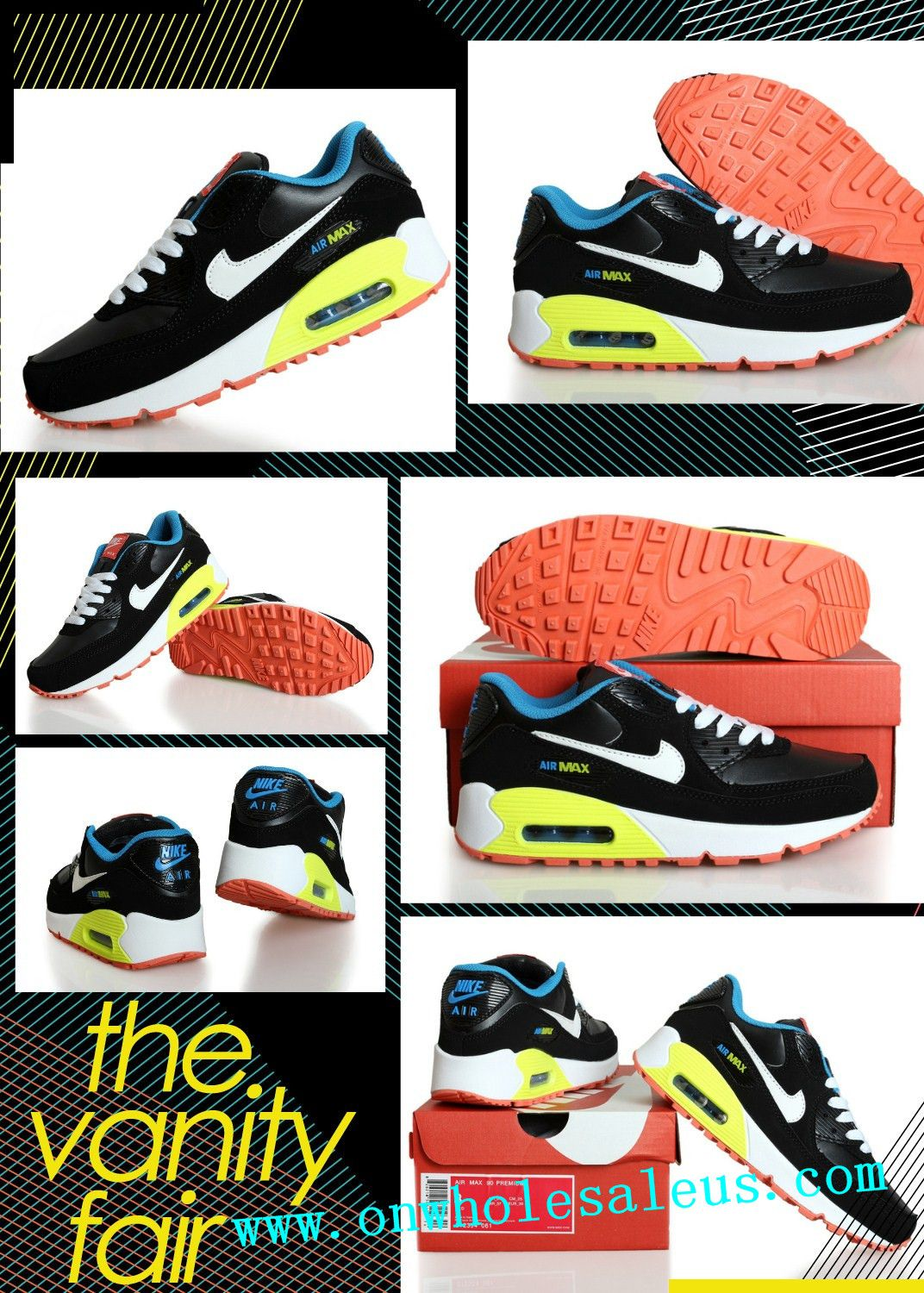 pretty nice 50ab3 2ab4d 2014 cheap nike air max 90 mens Women sBlack and white yellow for sale  39  size us5.5-us12