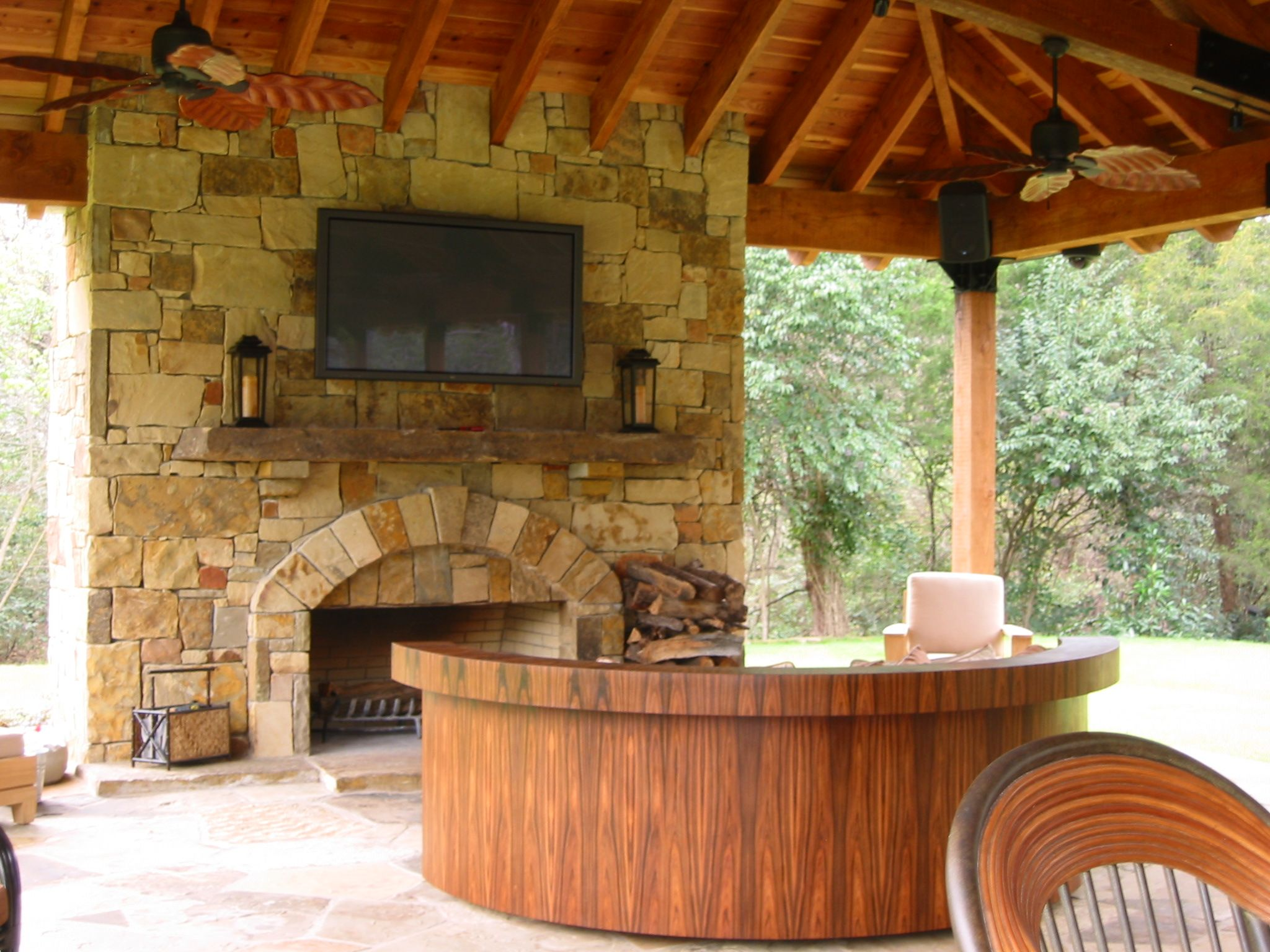 Texas Regional styled outdoor stone hearth fireplace with ... on Rock And Stone Outdoor Living id=29769