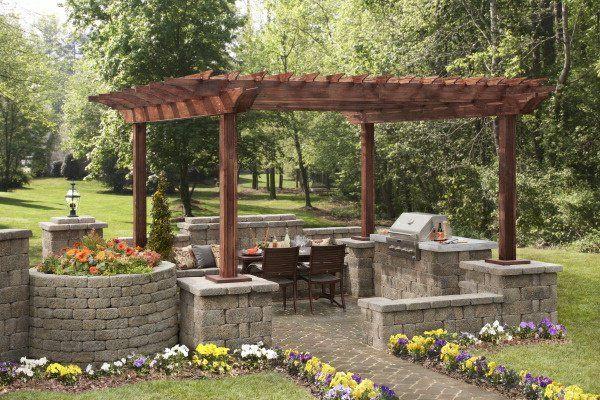 pergola selber bauen gartengestaltung ideen gartenmöbel steinmauer, Gartenarbeit ideen