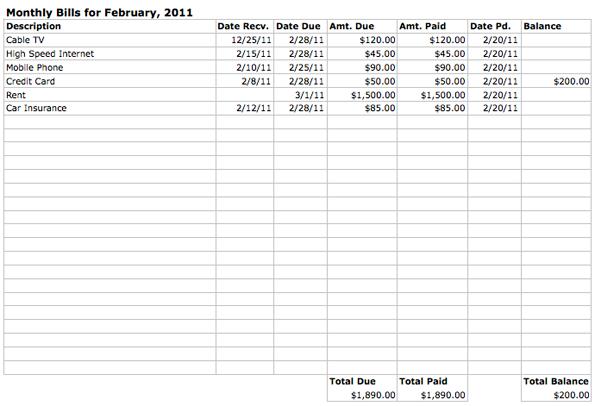 Monthly Bills Spreadsheet Template Spreadsheet Template Paying Bills Bill Template
