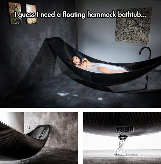 Hängematte und Badewanne