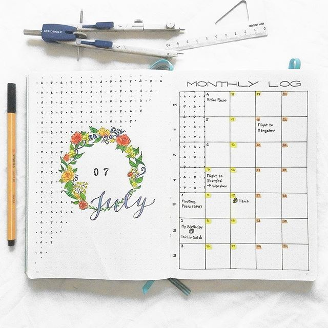 July monthly spread. Since I am going on a long trip this ...