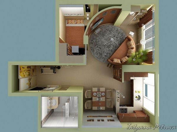 Lovely Small Apartment Plan For Young Girls By Tatiana Petrova