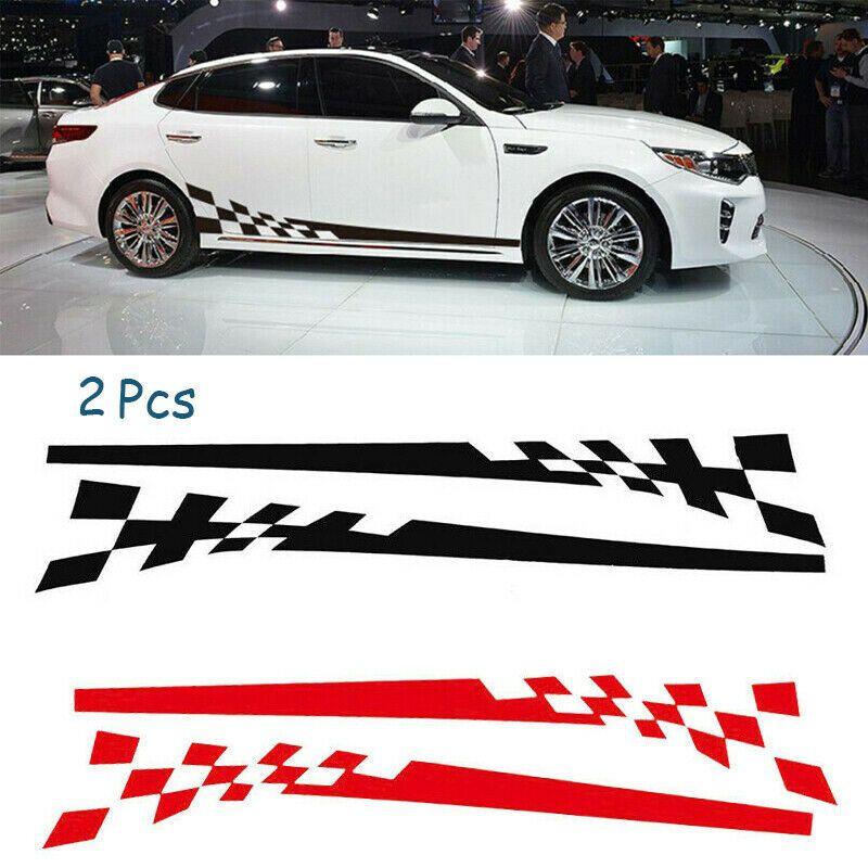 Sponsored Ebay 2 Set Car Body Side Graphics Chequered Flag Racing Stripes Vinyl Decals Sticker Calcomanias Para Coches Stickers Para Autos Vinilos Para Autos