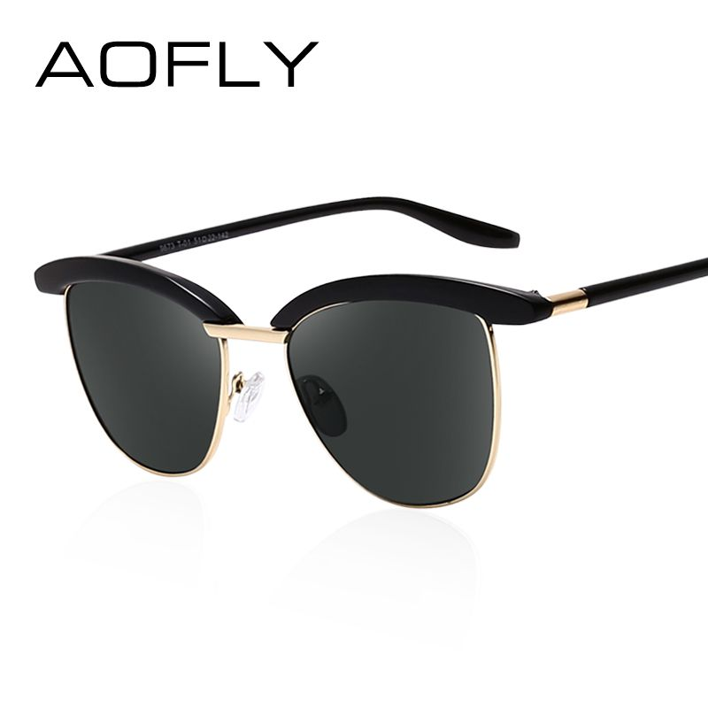 c76d9433434 AOFLY Sunglasses Semi-Rimless Sun Glasses Women Luxury Brand Designer  Anti-Reflective Mirror Glasses