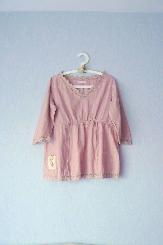 chemisier manche 3 4 tissu coton rose femme taille 40 mode shabby chic chemises blouses par. Black Bedroom Furniture Sets. Home Design Ideas
