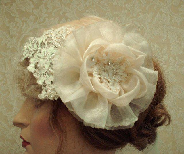 Champagne Hair Flower Hair Clip / Bridal Accessories, Bridesmaids, Weddings | Luulla