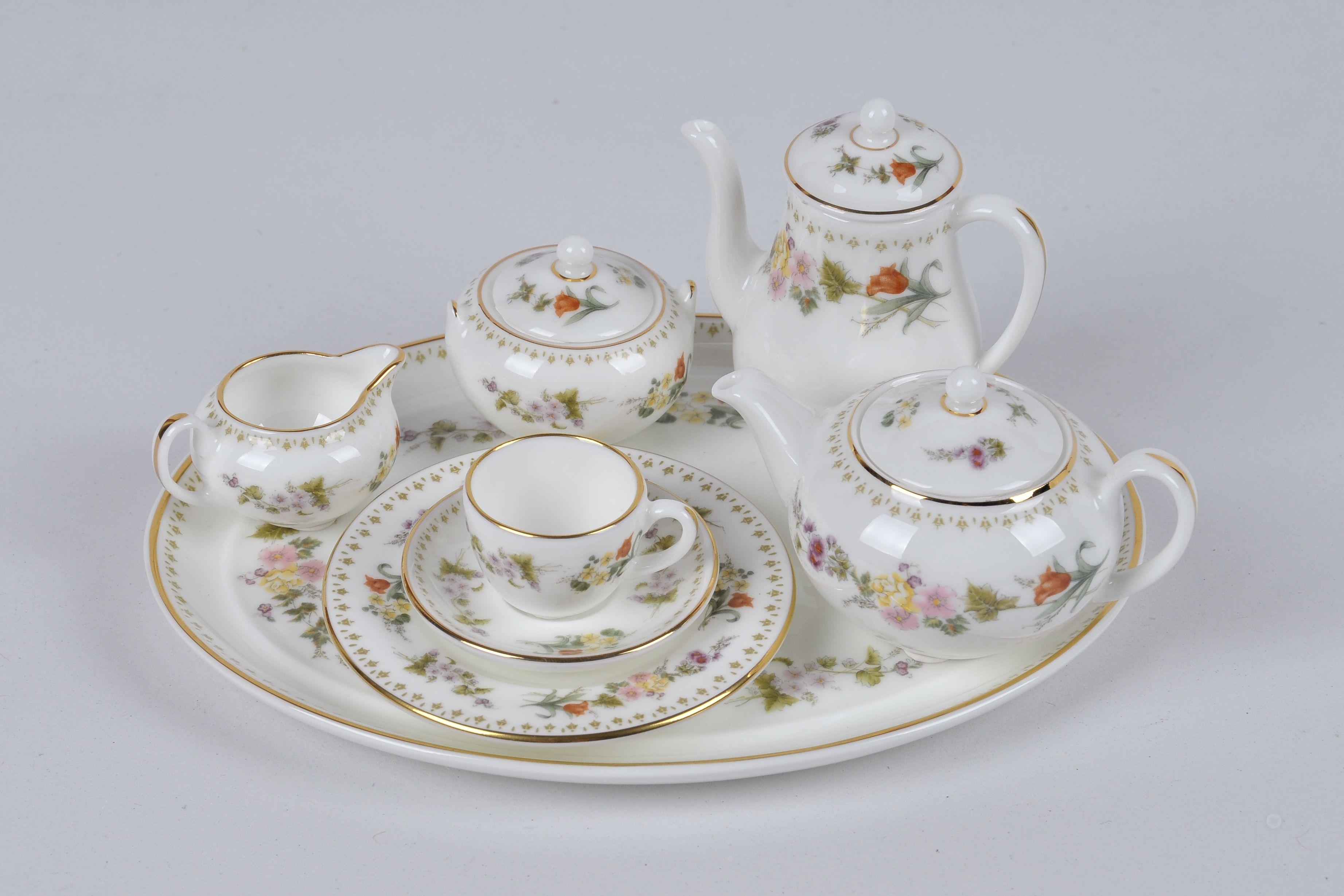 Dollhouse Miniature Dresden Rose Pink Floral Porcelain Tea Set for 4