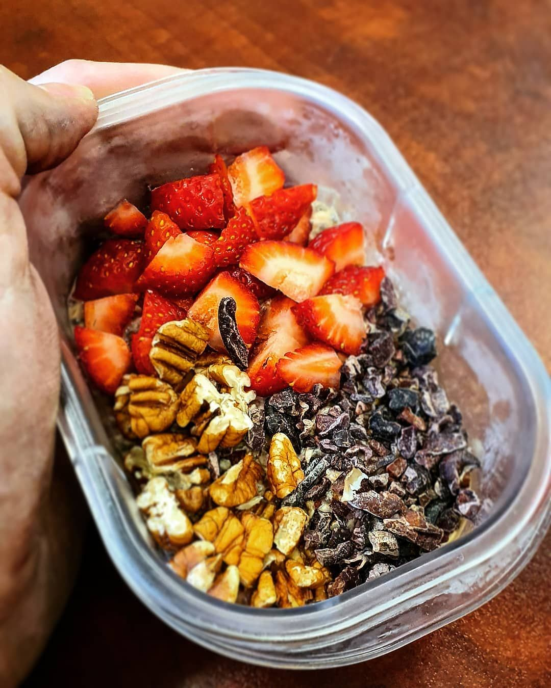The easiest breakfast prep you can ask for.   Coconut rough protein oats. Scoop of choc protein, coc...