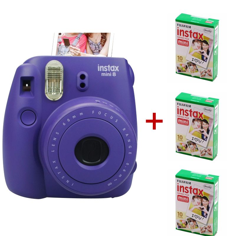 Newest Fuji Instax Mini 8 Camera Mix Color Instant Fujifilm Photo 3 Packs Sheets Plain Edge Film