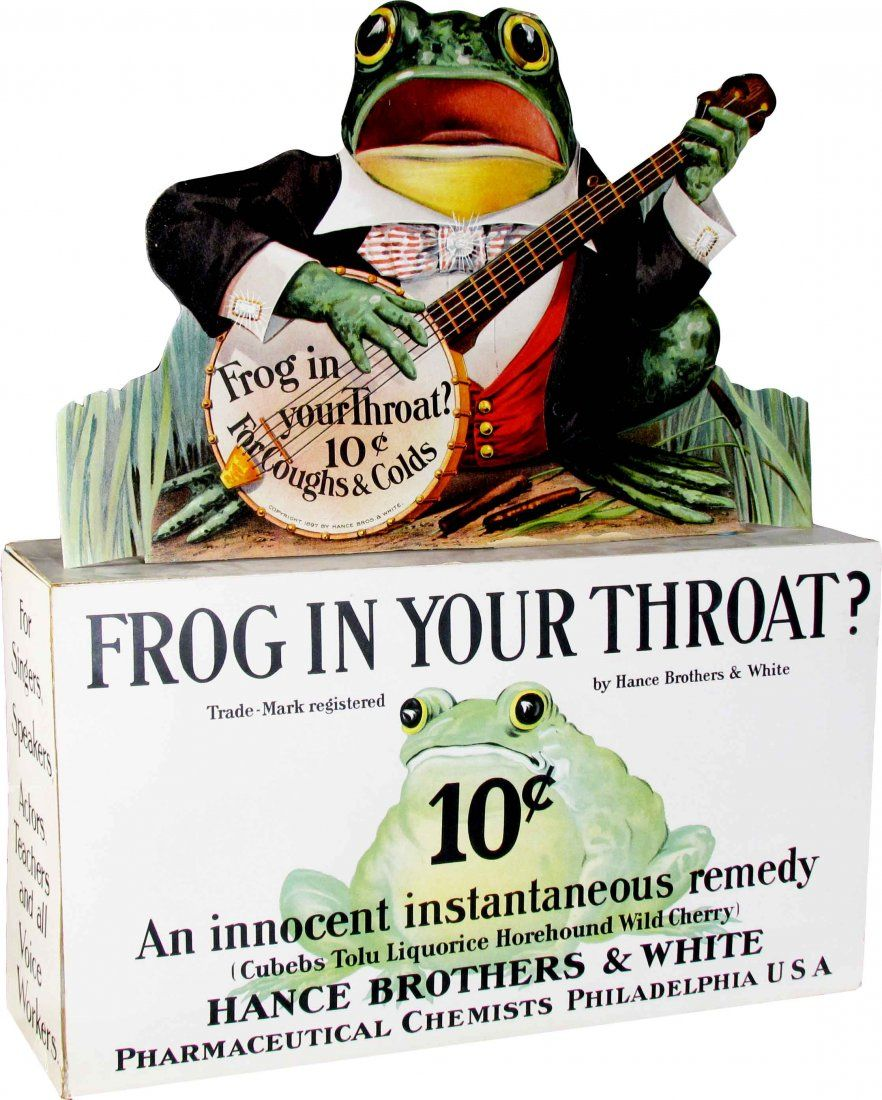 Lot: Frog in Your Throat Advertising Store Display, Lot Number: 1440, Starting Bid: $500, Auctioneer: Showtime Auction Services, Auction: Fall, 2013 Live & Internet Auction, Date: October 6th, 2013 MST