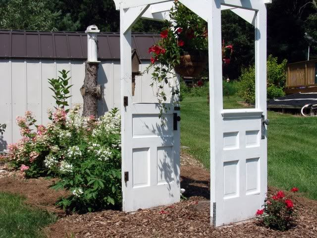 The backside of Jeanne Sammons original door arbor & arbor out of old doors. making out of french doors my parents don\u0027t ...