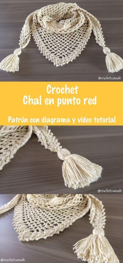 Chal a crochet en punto red paso a paso con videotutorial