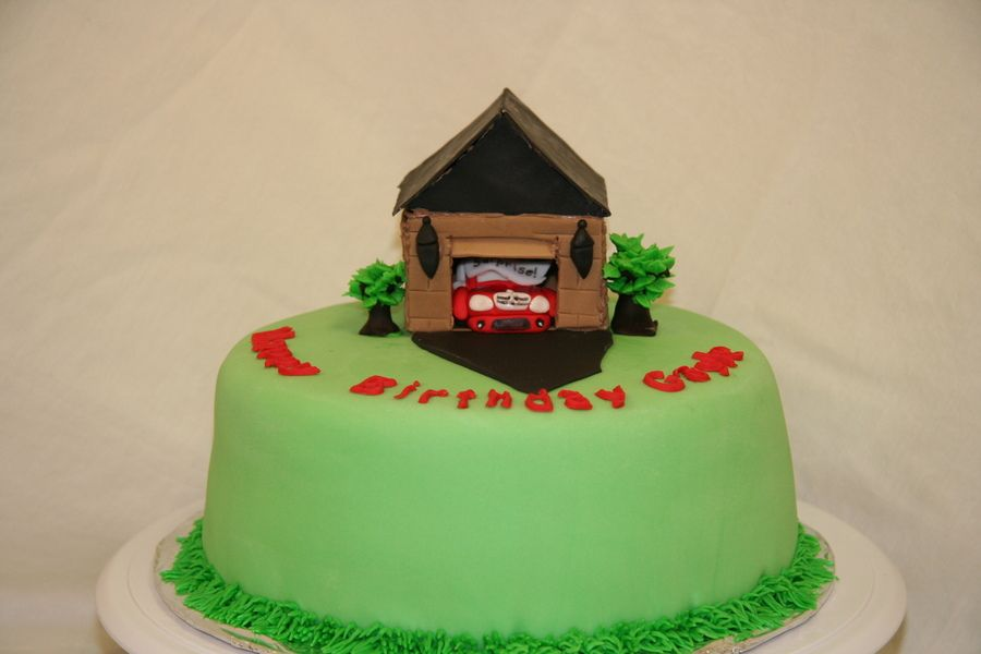 Birthday Cake For His Wife With A Mercedes Benz In Car Garage