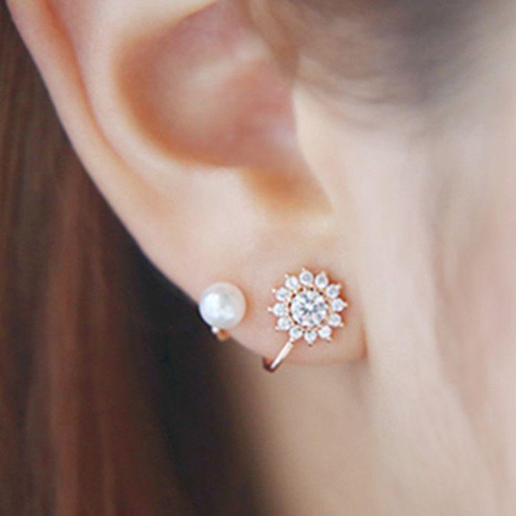 Sweet rhinestone simulated pearl snowflake ear jacket earrings for ...