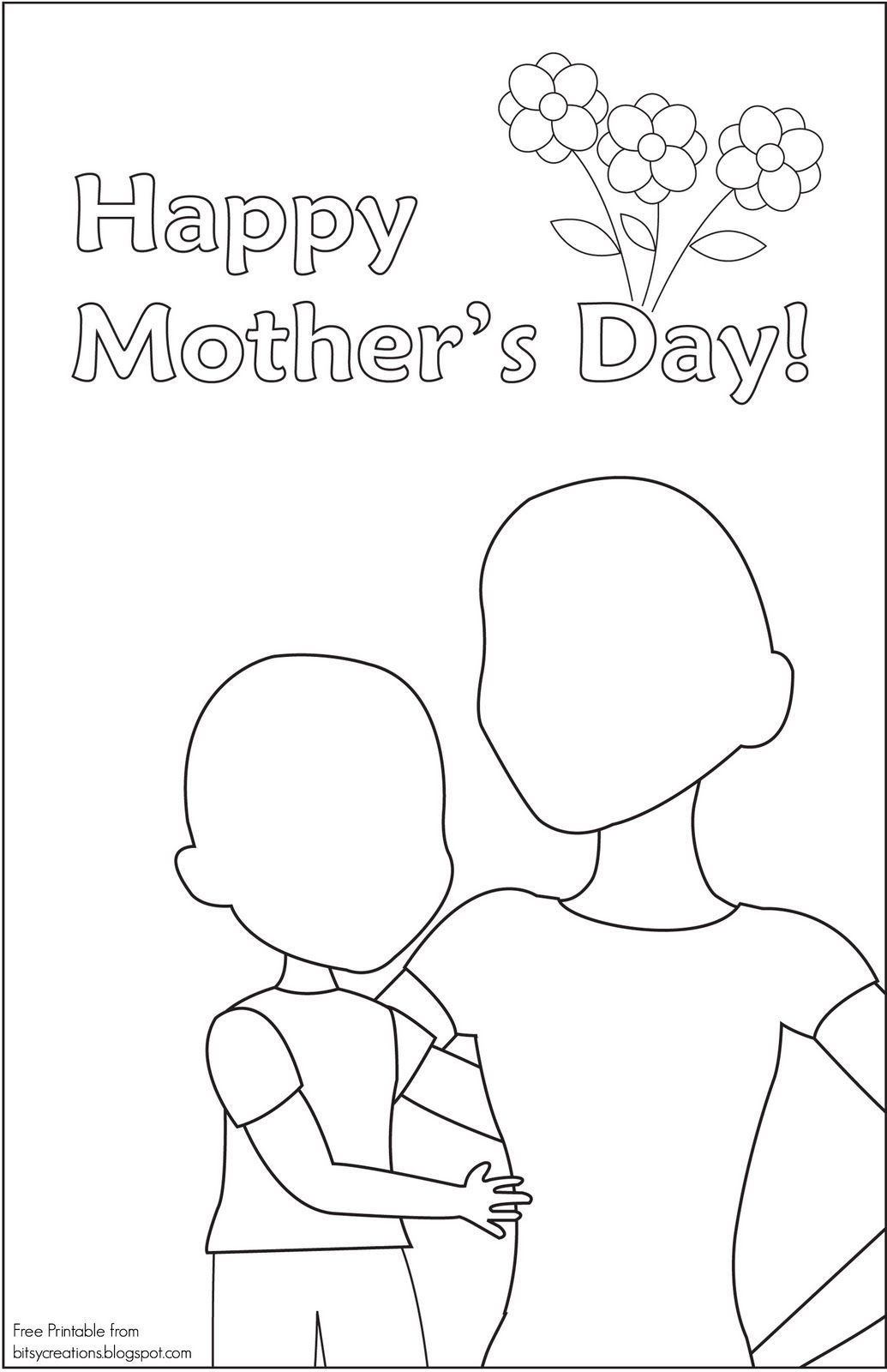 Mothers Day Card To Draw Color In Bitsycreations Mother