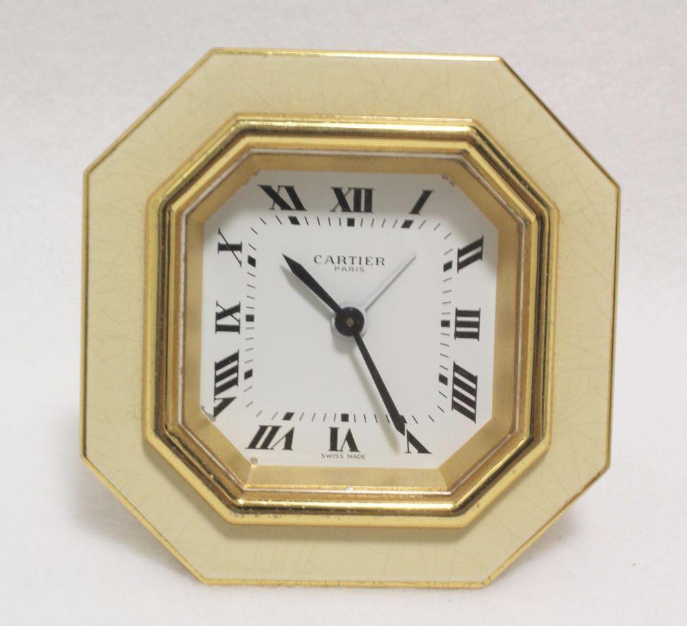 Cartier alarm travel clock brass guilt cream color serviced desk cartier alarm travel clock brass guilt cream color serviced desk octagon 8 side amipublicfo Images