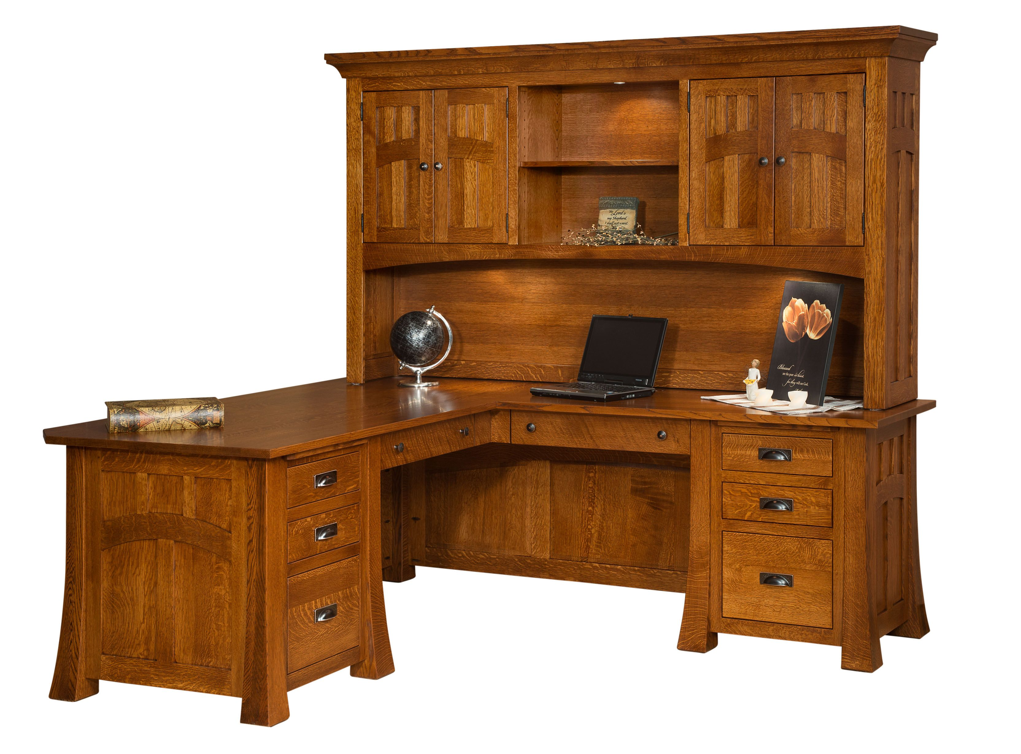 view desk computer hutch harbor corner oak sauder products