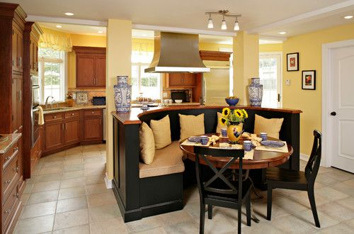 Yellow Walls With Dark Cabinets In Kitchen Design Pictures Remodel Decor And Ideas Page 17 Like The Kitchen Nook Kitchen Remodel Home Kitchen Banquette