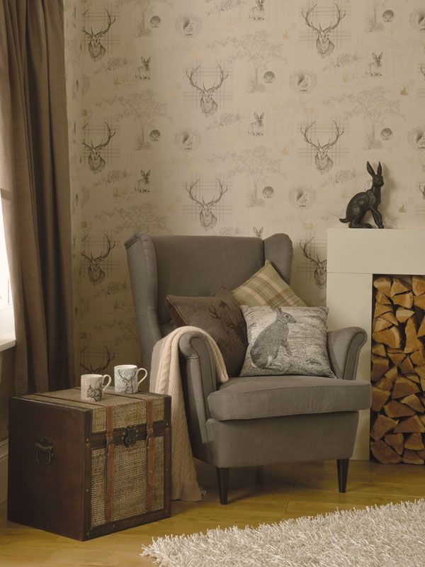 Richmond Highland Stag Wallpaper Charcoal 98012 Decor Living Decor Bedroom Decor Bedroom Themes