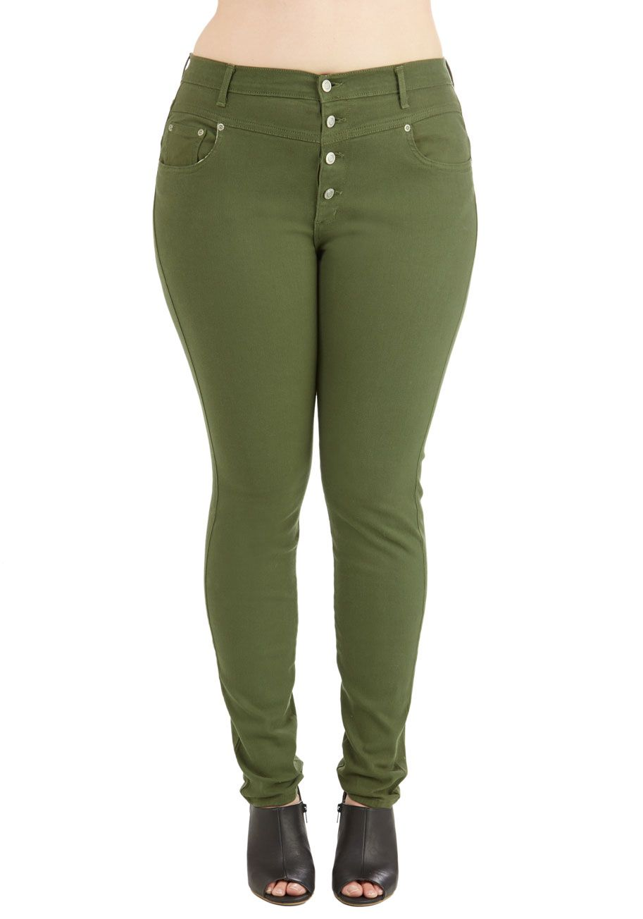 3a48d37629d Karaoke Songstress Jeans in Olive - Plus Size. Step into the karaoke  spotlight in these classic denim skinnies!  green  modcloth