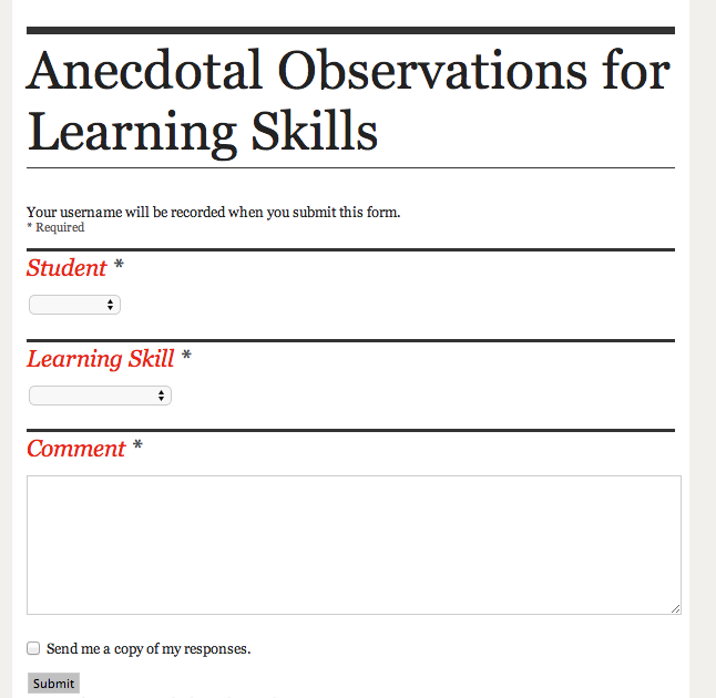 Google Forms For Paperless Assessment Anecdotal Comments For