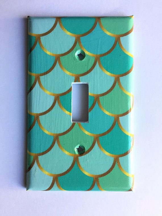 Teal Mermaid Scale Light Switch Cover, Single Switchplate, Mermaid Nursery Decor, Mermaid Bedroom, M #mermaidbathroomdecor