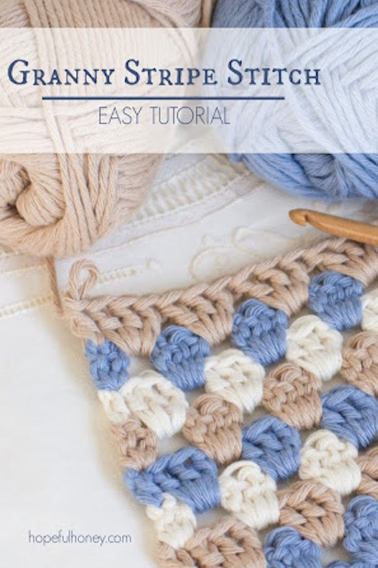 How To: Crochet The Granny Stripe Stitch - Easy Tutorial   Puntos ...