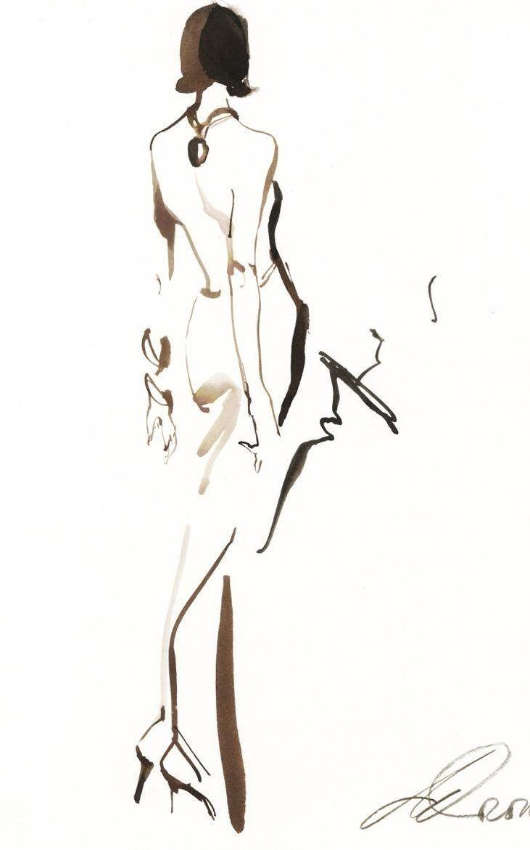Thierry Mugler illustration by David Downton                                                                                                                                                                                 Más