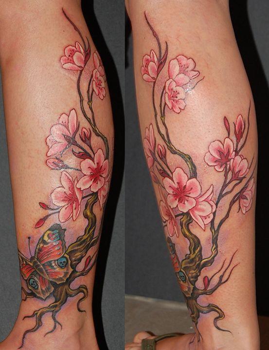 un tatouage de branche de cerisier 11 inkage tattoo. Black Bedroom Furniture Sets. Home Design Ideas