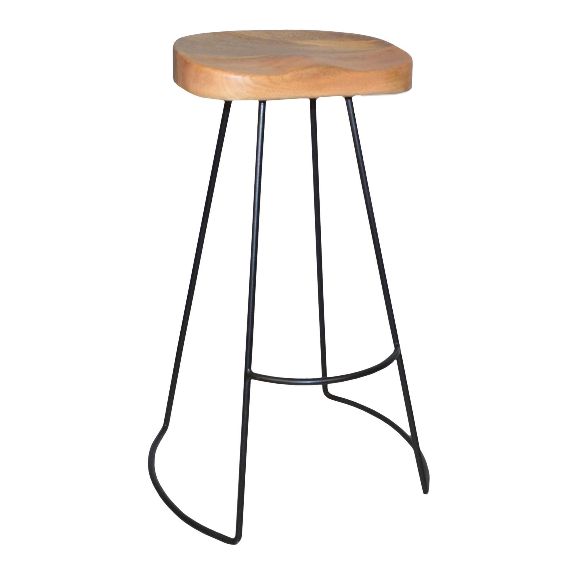 Wood And Metal Backless Porter Barstools Set Of 2 Bar Stools