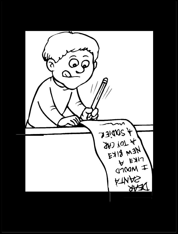 Niño escribiendo carta a santa claus | Imagen para colorear ...
