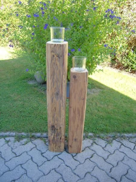 Alte Holzbalken als Kerzenständer-Deko HANDARBEIT Garten